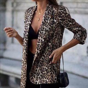 Zara animal print leopard blazer jacket